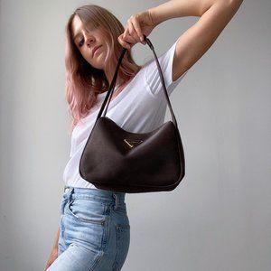 Vintage Shimmering Nylon Shoulder Bag